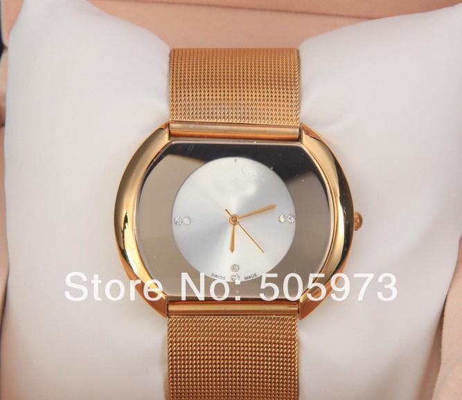 2014 moda strass Vestido relógio para Mulher malha de pulso senhora relógio pulseira de quartzo(Hong Kong)