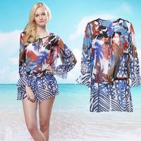 2014 free shipping+Women's bohemia chiffon print short dress ultra-thin fifth sleeve one-piece dress beach dress