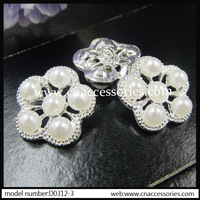 free shipment,rhinestone pearl flower button,50pcs/lot,fashion children garment accessories,collar decoration,with hook