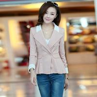 Women's top blazer 2014 spring brand korean version fashion OL lapel wild blazers slim small suit jacket red casacos femininos