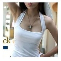 2013 women's all-match 100% cotton slim small halter-neck vest sexy spaghetti strap basic racerback