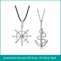 Wholesale & Retail for Real 925 Sterling Silver Lovers' Necklaces with Stamp S925 - 2PCS/1PAIR,Top Quality!! (X0212&G0016&Z0011)