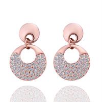 Beautiful Crystal Jewelry  Triangle Shape Stud Earrings 18KGP Rose Gold Plated Rhinestone Stainless Steel Dangling Earring