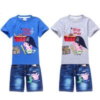 New 2014 Summer Fashion Peppa Pig Clothing Children t shirts + Kids Pants Tracksuit Baby Boy Clothing Sets Conjuntos