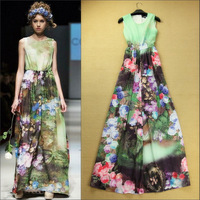 Fashion gradient 2014 tie-dyeing flower vest full dress elegant beach one-piece dress