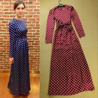 2014 fashion spring and summer polka dot slim elegant vintage full dress lacing one-piece dress