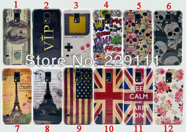 US Dollar VIP Skull Head Comics Eiffel Tower Flag Game Console Hard Plastic Cover Case for Samsung Galaxy S5()