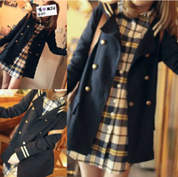 2014 spring women's double breasted HARAJUKU outerwear school wear long-sleeve preppy style brief trench outerwear