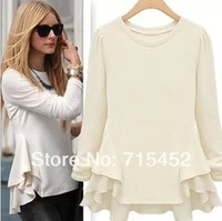 New 2014 retail spring fashion  lace joining together the waves lap long sleeve women T-shirt free shipping