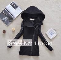 2014 female womens woolen coat jacket outerwear british style PU hooded slim Woolen jacket Oblique zippered blazer