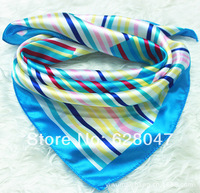 2013 New Arrival Fashion Blue Streak Women Polyester Small Square Scarf Printed,British Style Brand Casual Silk Scarf 52*52cm