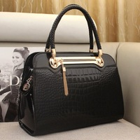 New 2014 fashion women genuine leather handbags classics patent leather bags  women handbag croco messenger bags totes