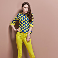 New Spring 2014 women's new arrival  top trousers set female fashionable twinset chiffon casual set clothing set