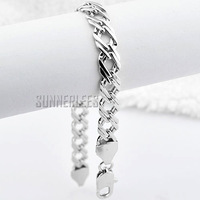 7mm Mens Womens New Free Shipping Fashion Jewelry Braided Link Chain 18K White Gold Filled Bracelet Gold Jewellery C03 WB