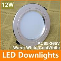 Super AC85-265V 12W/ LED  Ceiling Light Cool White/Warm White LED Down Light Energy Saving LED light Free Shipping