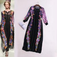 Fashion 2014 women's romantic flower print puff sleeve elegant stand collar shirt paragraph full dress one-piece dress