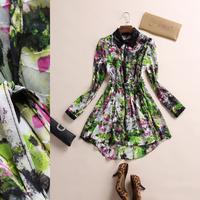 2014 spring fashion turn-down collar PU patchwork color block print long-sleeve slim waist elegant expansion bottom silk