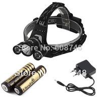 1set 5000Lumen CREE XM-L XML T6 + 2xR2 LED Headlight Bike Bicycle Light Headlamp Flashlight +2x 18650 4000MAH Battery+AC Charger