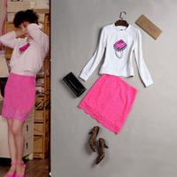 High quality spring women's sweatshirt lace slim hip slim skirt set