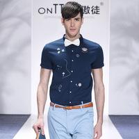 fashion men big plus size famous brand casual shirts 2014 flower print men's clothing moda camisetas masculinas