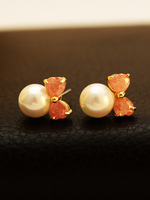 800092 # Fashion Hot bow pearl earrings grade zircon earrings earrings wholesale plating color retention