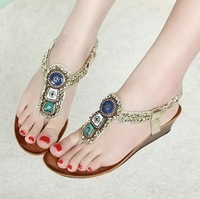 2014 new national wind bohemian beaded rhinestone clip toe wedge sandals sandals Roman shoes Korea