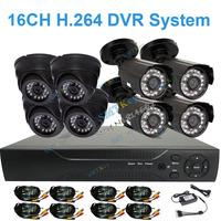 DIY Security kit camera system 16CH HDMI DVR + 4pcs 700tvl color outdoor Waterproof CCTV Camera + 4pcs indoor cctv camera