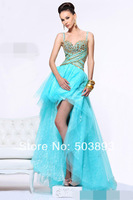 Free shipping gold crystal evening dresses 2014 blue evening gown elie saab zuhair murad evening dresses short front long back