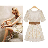 New 2014 women winter dress waist lace dresses embroidered gauze Spring 2014 plus size dress large size with belt summer dress