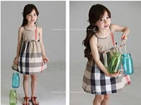 Baby cotton dresses Children fashion tops Kids Princess dress Girl plaid jumper dress 2-7T 6 pieces/lot Wholesale Free shipping