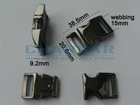 """(10pcs, black) 5/8"""" or 15mm Webbing Contoured 100% Metal Steel Curved Side Release Buckles for 550 Paracord Bracelets Bag Parts"""