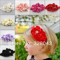 Trail order layered flower Headband satin Ribbon Flowers Headband For Infant Baby Girls Children  hair accessories 30pcs/lot