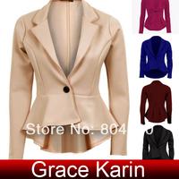 Free Shipping GK Ladies Women Office One Button Frill Blazer Coat Tops 5 Size XXS~L CL5318