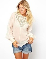 New 2014 spring/summer Sexy Lace Patchwork women blouses & shirts& Tops Cut Out Long Sleeve Free Shipping