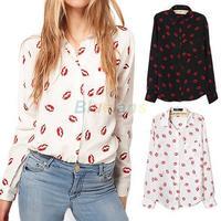 2014 new Women Fashion Leisure Shirt Blouse Collared Chiffon Long Sleeve Kiss Lip Printed Blouse Wholesale