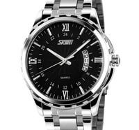 Free Shipping Men Full Steel Watches 2014 New Handsome Luminous Calendar Waterproof Quartz Casual Analog Relogio Wristwatches
