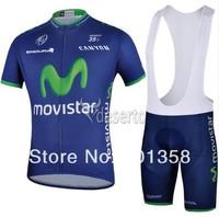 2014 Movistar team short Sleeve Cycling clothing+bib shorts racing bike wear Size XS-4XL 3d coolmax padded accept customized