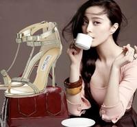 new 2014 rhinestone sandals for women high heels pumps sandals golden brand summer shoes wedding shoes women pumps party shoes
