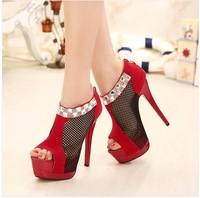 Ladies Sexy Platform High Heel Shoes Fish Mouth Women Pumps With Rhinestone Hollow Out Back Zip Red Outsole BC808-2NF