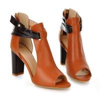 Free shipping, 2014,Spring, Rome, new, leather, genuine, women's shoes, fish head, thick high heel, sandals