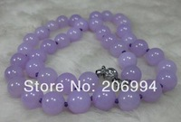 factory price Charming NATURE LAVENDER 10MM JADE BEADS JADEITE NECKLACE 18INCH 2pc/lot Single Strand fashion jewelry