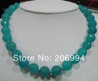 "factory price 8mm Aquamarine Faceted Round Beads Necklace 18"" 2pc/lot Single Strand fashion jewelry"