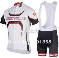 2014 CASTELLI team short Sleeve Cycling jersey bib shorts racing clothing bike wear Size XS-4XL 3d coolmax padded