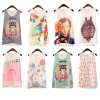 Summer 2014 fashion - casual cartoon floral  printed chiffon vest  shirt Vest t-shirt feniminas blusa