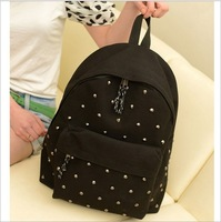 2014 Fashion Cool Men Women Canvas Backpack Black Casual Rivet Backpack Vintage Children Student School Bag SD50-107