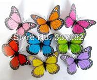 100pcs/lot of 12CM Magenta Coloured 3D Artificial Butterflies