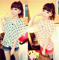 2013 women's sweet dot ruffle hem slim waist ruffle sleeve chiffon shirt chiffon top  free shipping