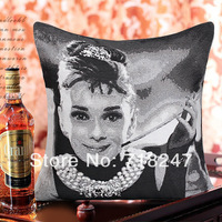 2014 New Quality Classic Decorative Vintage Jacquard Audrey Hepburn Cushion Cover White Black Knit Throw Pillow Cases Two Sides