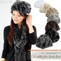 Free Shipping New Real Knit Rabbit Fur Hat Cap headgear headdress Various Fashion Women TF102
