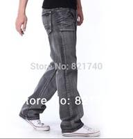 2014 new spring men jeans Water wash nostalgic vintage male denim trousers loosen grey straight casual fashion boy man pants